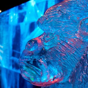 Gorilla ice sculpture at Icebar London